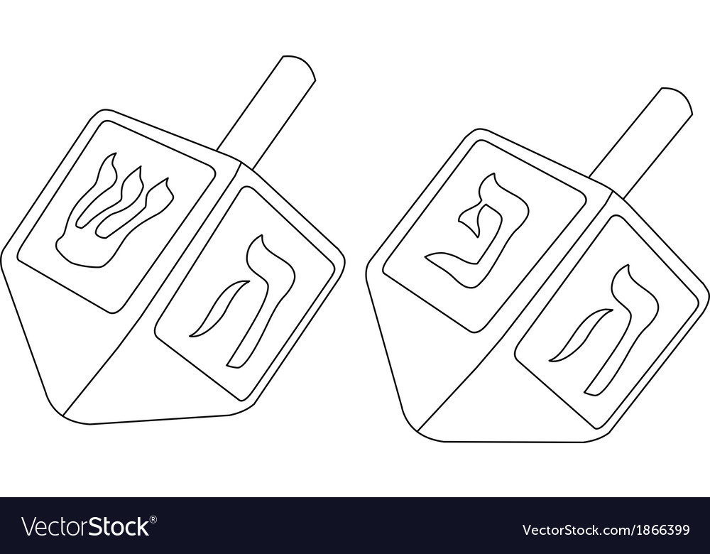 Hanukkah dreidel coloring page vector | Price: 1 Credit (USD $1)