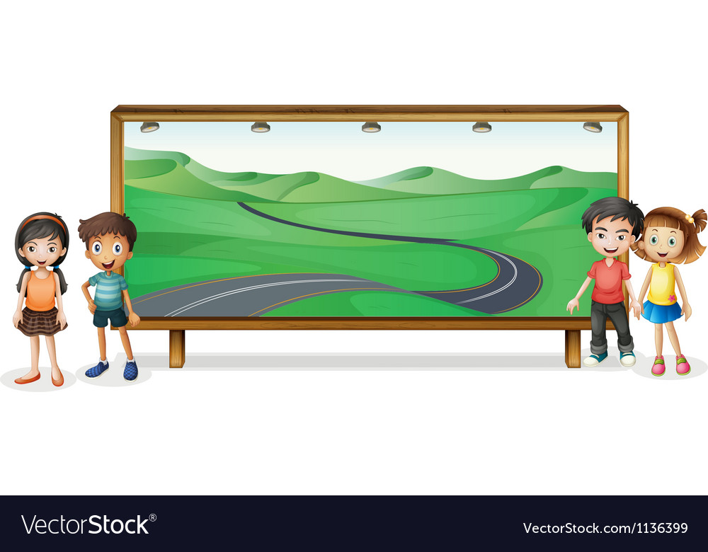 Kids and board vector | Price: 1 Credit (USD $1)