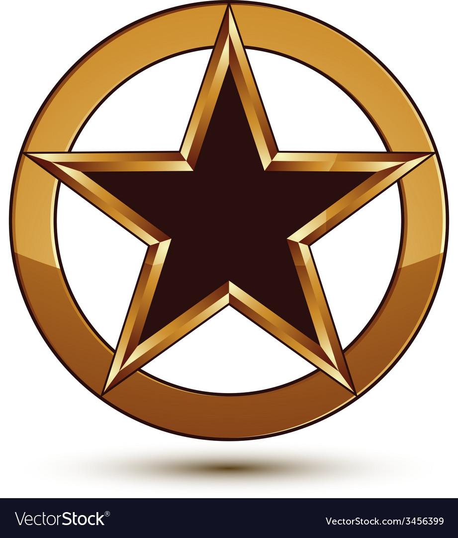 Refined black star emblem with golden outline 3d vector | Price: 1 Credit (USD $1)