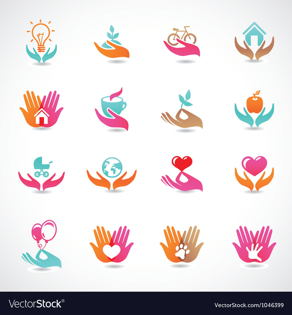 Set with signs of love and care vector | Price: 1 Credit (USD $1)