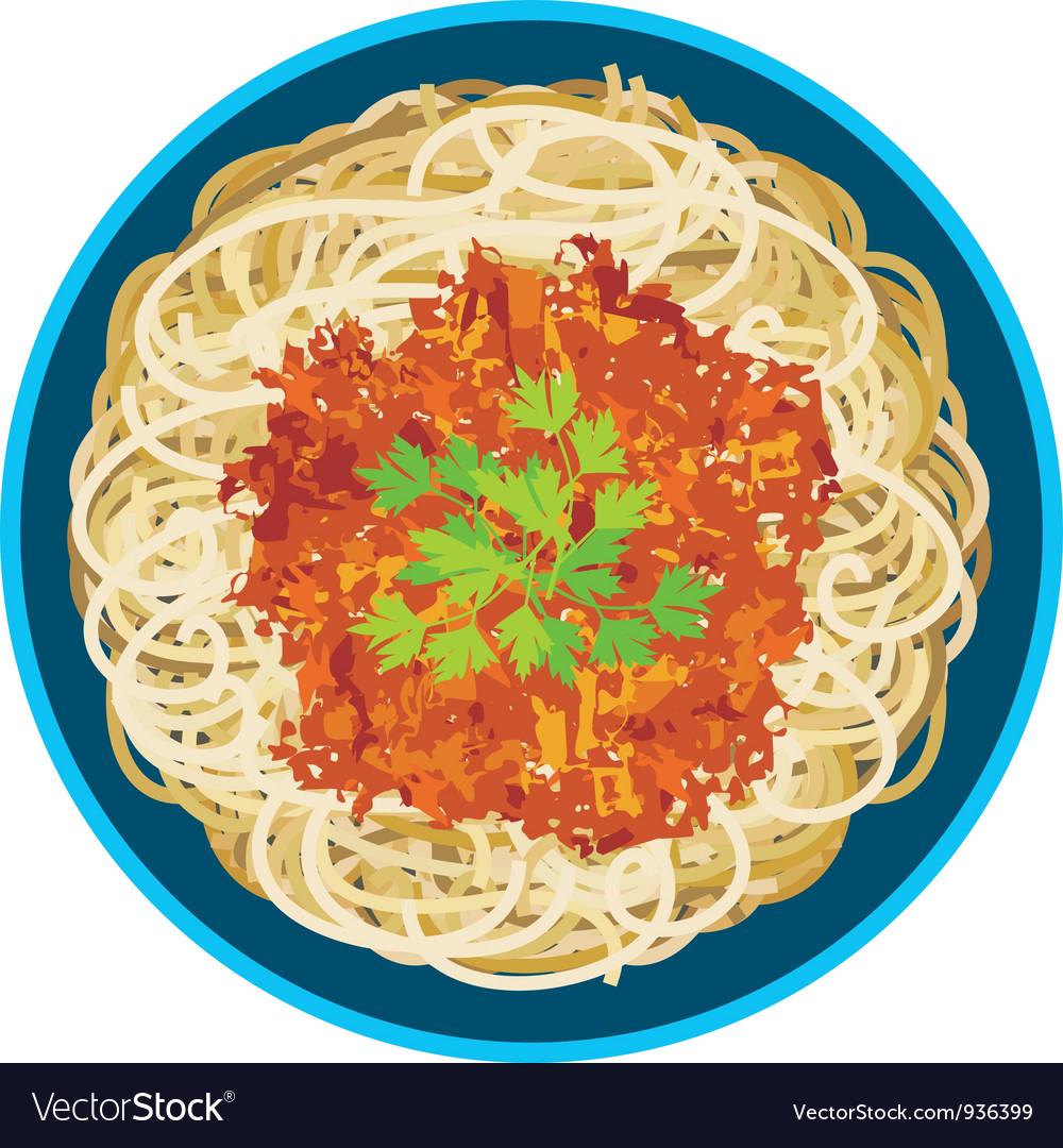 Spaghetti in a plate vector | Price: 1 Credit (USD $1)