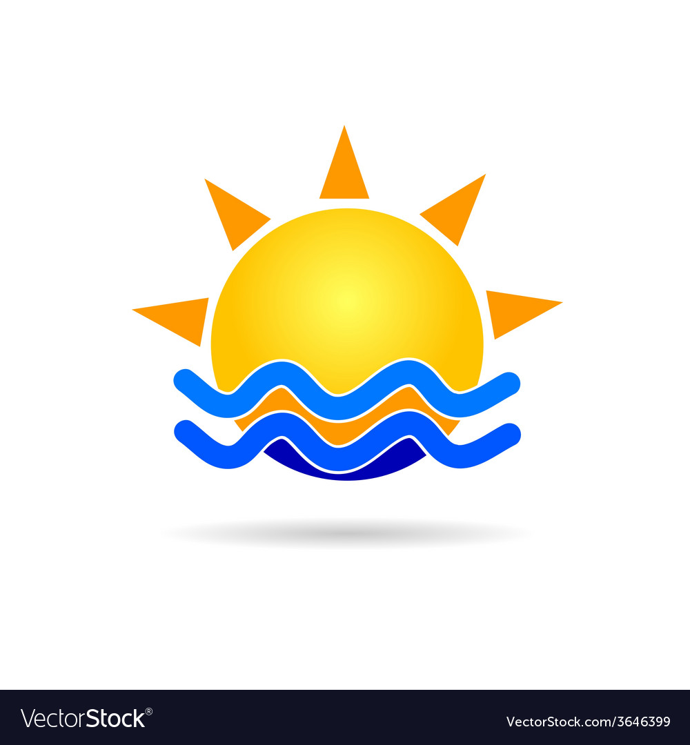 Sun with blue sea icon vector | Price: 1 Credit (USD $1)