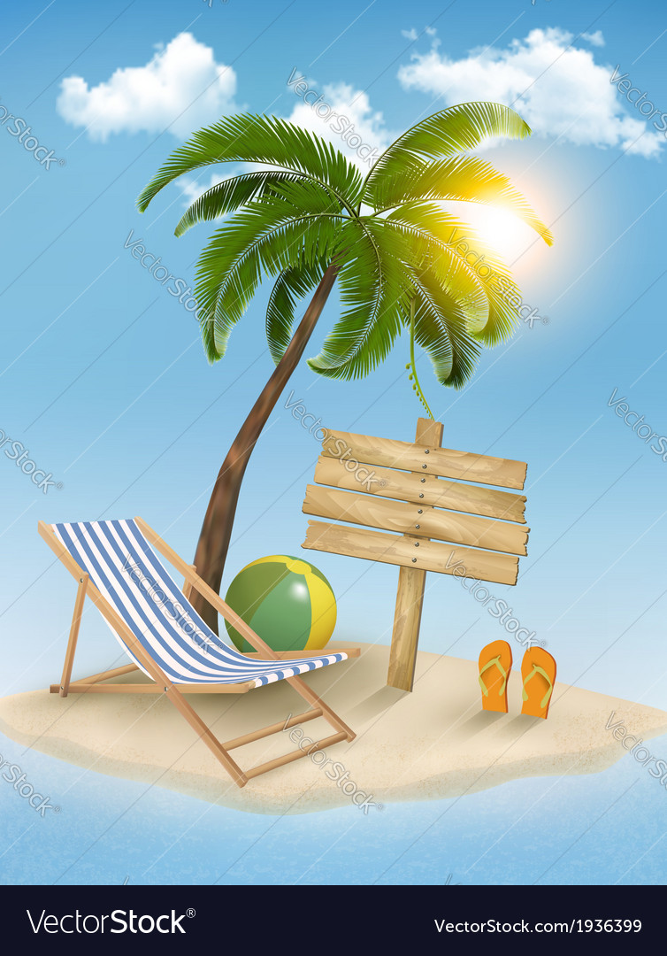 Travel background with tropical island summer vector | Price: 3 Credit (USD $3)