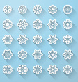 Set of flat snowflake icons with long shadow vector