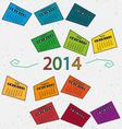 Calendar 2014 line vector