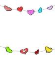 Sketch hearts garland vector
