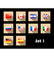 International country flags on flat icons vector