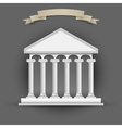 Bank building with banner ribbon for text vector