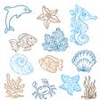 Marine life doodles vector