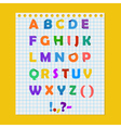 Complete colorful paper alphabet on a yellow vector