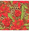 Seamless floral pattern on leopard background vector