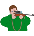 Hunter aiming with sniper rifle vector