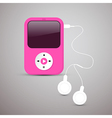 Pink mp3 player with white headphones vector