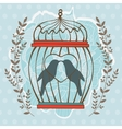Card with birds in cage vector