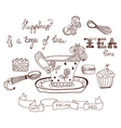Tea time doodle background vector