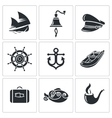 Sea tourism icons set vector