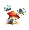 A big mushroom plant with three bees vector