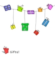 Sketch gift boxes garland vector