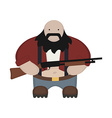 Cartoon redneck in red shirt with shotgun no vector