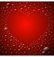 Abstract red background heart shaped waterdrops vector