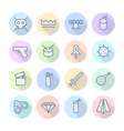 Icons line round miscellaneous thin vector