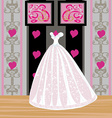 Beautiful wedding dress on a mannequin in elegant vector