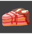 Delicious piece of strawberry cake vector