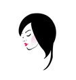 Girl with beautiful hair and red lipstick vector