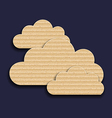 Carton paper clouds isolated on dark background vector