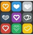 Hearts icons set vector