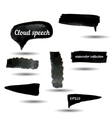 Black watercolor grunge arrows collection vector