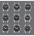 Various watch case and dials with hands eps10 vector