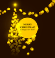 Christmas tree golden lights vector