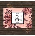 Vintage wedding invitation with rose flowers vector