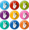 Round icons with hands vector