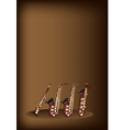 Different kind of saxophone on brown background vector