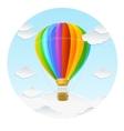 Rainbow air ballon and clouds vector
