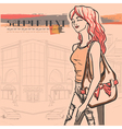Urban view and slender sexy girl in jeans vector