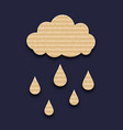 Carton paper cloud with rain drops vector
