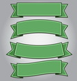 Set of green ribbon banners vector