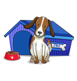 A dog outside the blue house vector
