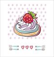 Birthday card with a cupcake vector