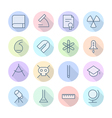 Icons line round science thin vector