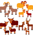 Set of funny animals with cubs goats sheep cows vector