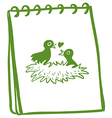 A notebook with a drawing of two birds in the nest vector