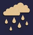 Paper clouds with rain drops carton texture vector