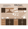 Kitchen interior in flat infographic style vector