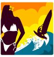 Surf and girl vector