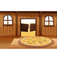A pizza pie in the table vector