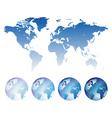 Blue world map and globes vector